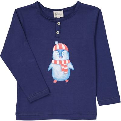 T-Shirt col tunisien marine pingouin