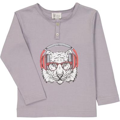 T-Shirt garçon tunisien gris motif tigre