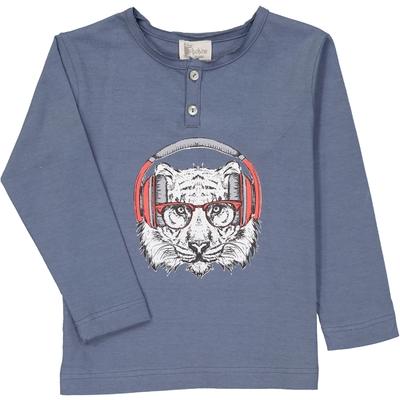 T-Shirt tunisien bleu encre motif tigre