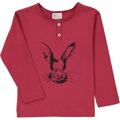 T-Shirt garçon col tunisien rouge lapin