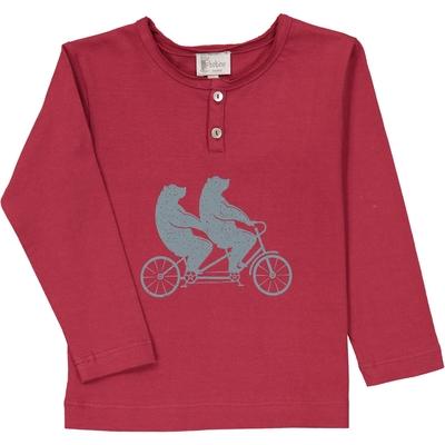 T-Shirt tunisien rouge ours à vélo<br>Existe uniquement en 4 et 8 ans<br>