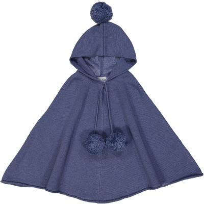 Poncho fille capuche Bleu Jean