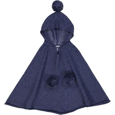 Poncho capuche fille - Pailleté Bleu