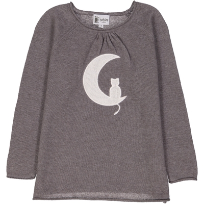 Pull fille Lune Gris