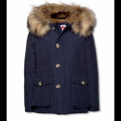 Manteau garçon à capuche bleu navy