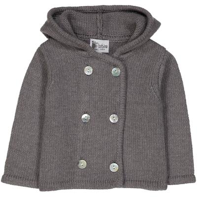 Veste bébé à capuche gris