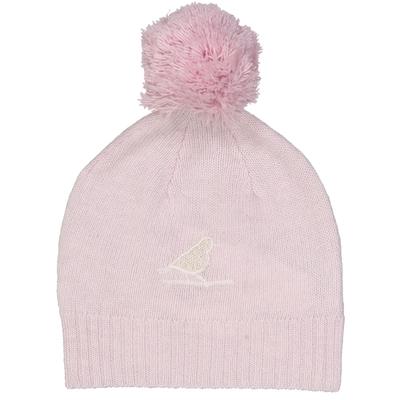 Bonnet à pompon bébé fille oiseau rose