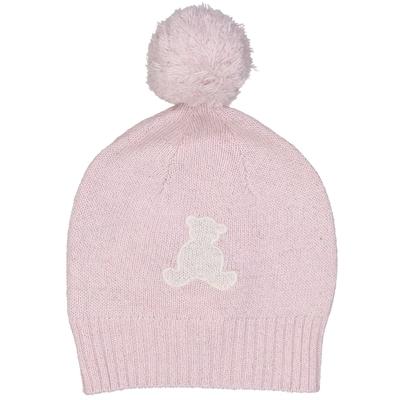 Bonnet à pompon bébé fille ourson rose paillettes