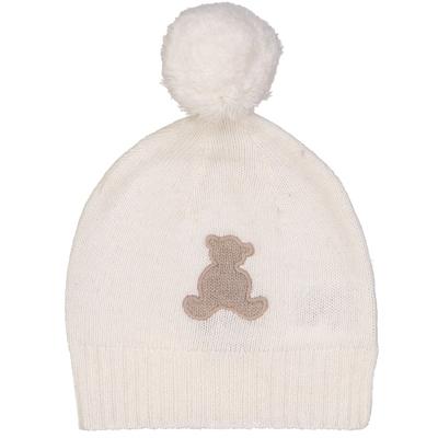 Bonnet bébé à pompon ourson blanc