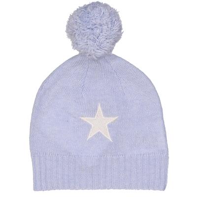 Bonnet bébé à pompon étoile bleu ciel