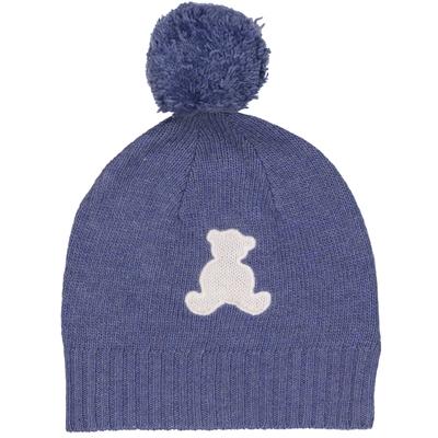 Bonnet bébé à pompon bleu jean ourson