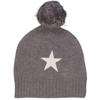 Bonnet bébé à pompon étoile gris