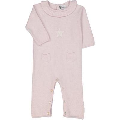 combinaison bébé col froufrou étoile rose