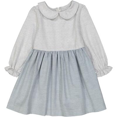 Robe col claudine - bicolore bleu et gris