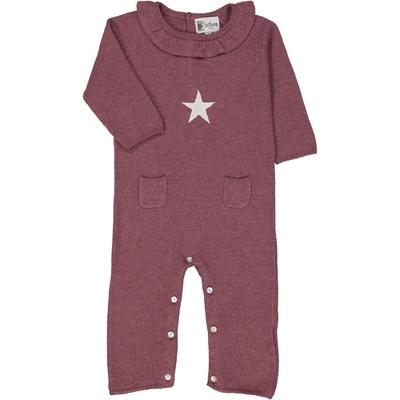 Combinaison bébé col froufrou étoile rose vin