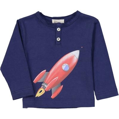 T-shirt bébé manches longues fusée marine