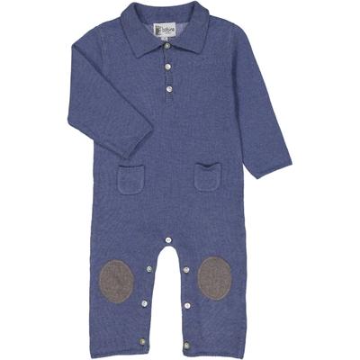 Combinaison bébé col polo bleu jean