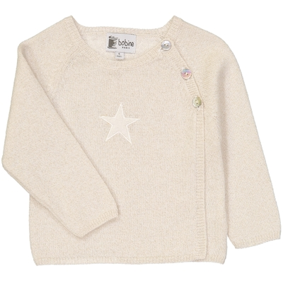 Pull bébé cache coeur étoile beige