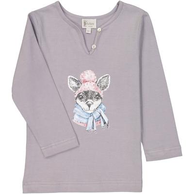 T-shirt fille kangourou gris perle