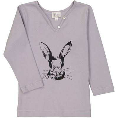 T-shirt fille lapin gris perle