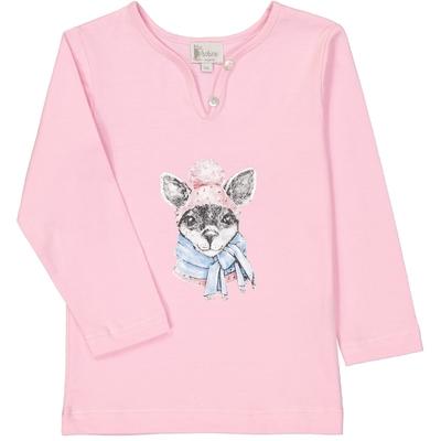 T-shirt fille kangourou rose