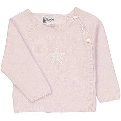 Pull bébé cache coeur étoile rose