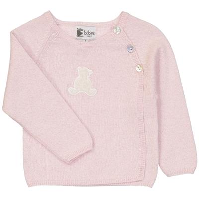 Pull bébé cache coeur teddy rose