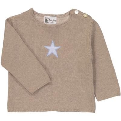 Pull bébé tunisien étoile taupe