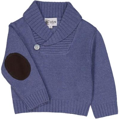 Pull bébé col châle bleu jean <br> Disponible uniquement en 3 mois