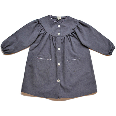 Tablier Ecole Fille Col rond bleu jean