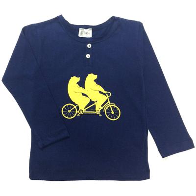 T-Shirt tunisien marine ours à vélo