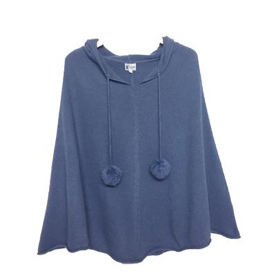 Poncho Femme à Capuche - Bleu Jean