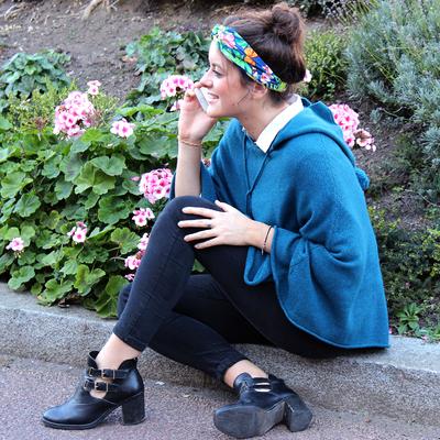 Poncho Femme à Capuche - Bleu Canard