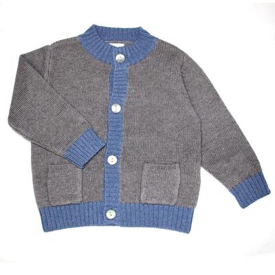 Gilet bébé col montant bicolore - gris/bleu jean