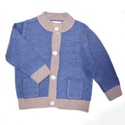 Gilet bébé col montant bicolore - Bleu jean/ taupe