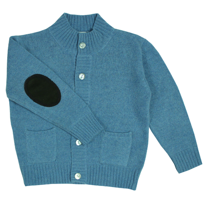 Gilet Col Rond - Bleu Jean