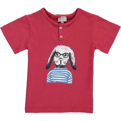T-shirt rouge - Lapin marin