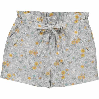 Short fille - fleuris jaune