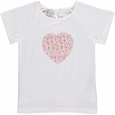 T-shirt MC - Coeur  imprimés fleurs roses