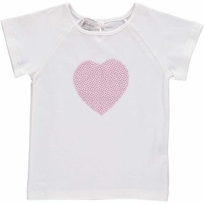 T-shirt MC - Coeur  imprimés rose violet