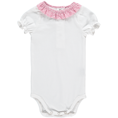 Body col froufrou - Fleurs Roses