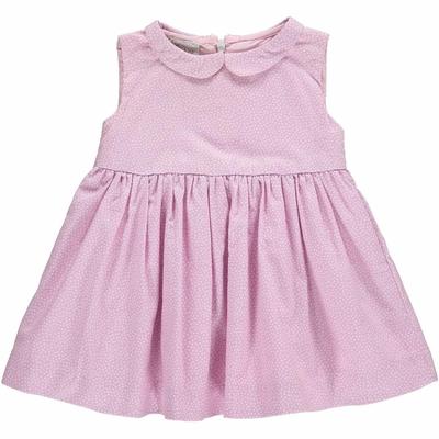 Robe bébé Suzette - Vieux rose à point blanc