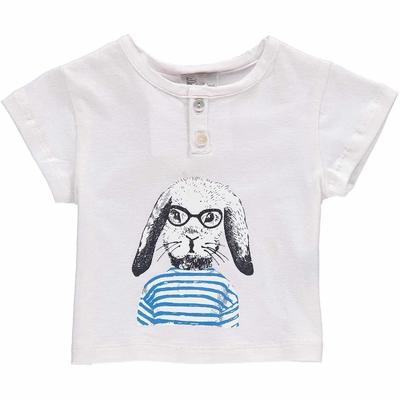 T-shirt bébé Blanc - Lapin en marinière