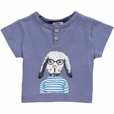 T-shirt bébé Encre - Lapin en marinière
