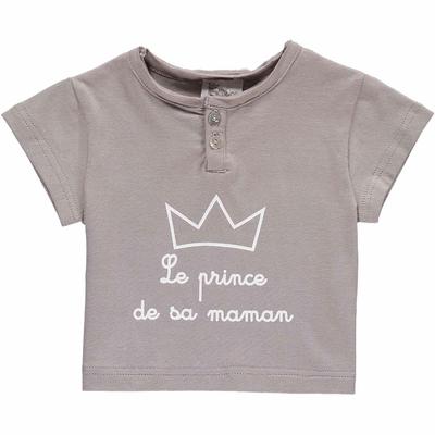 T-shirt bébé Gris - Le prince de sa maman