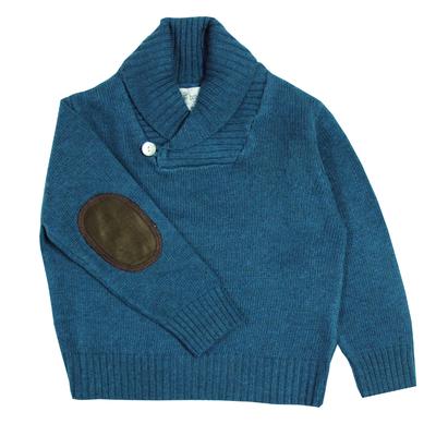 Pull Col Châle - Bleu Canard<br>Disponible uniquement en 12 ans<br>