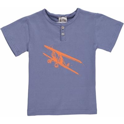 T-shirt bleu encre - Avion orange<br>Existe uniquement en 8 et 10 ans<br>