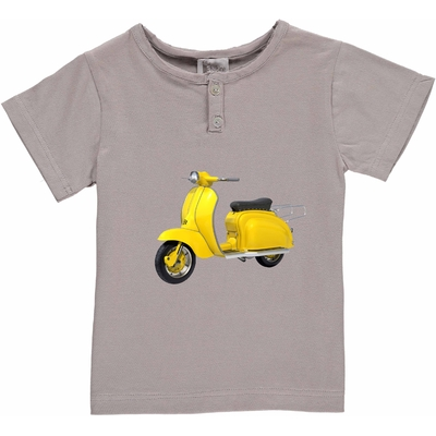 T-shirt gris - Scooter jaune