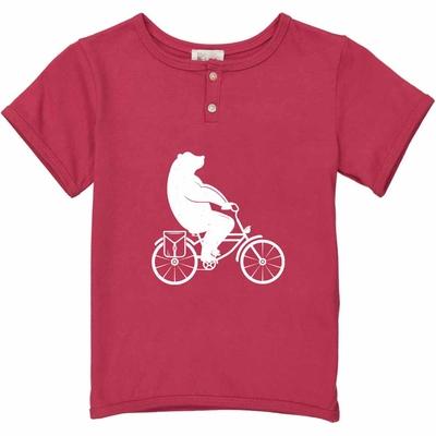 T-shirt rouge - Ours à vélo