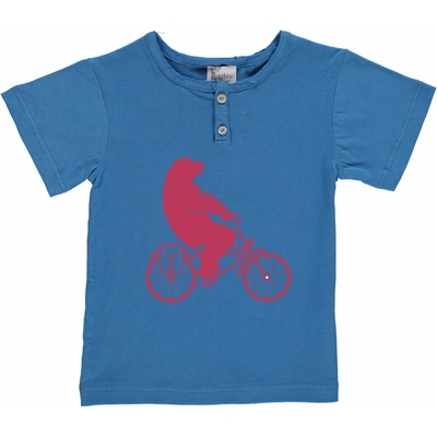 T-shirt bleu jean - Ours à vélo